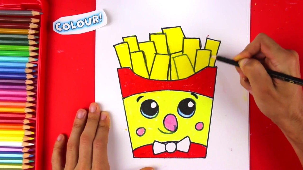 how to draw cute cartoon french fries step by step youtube
