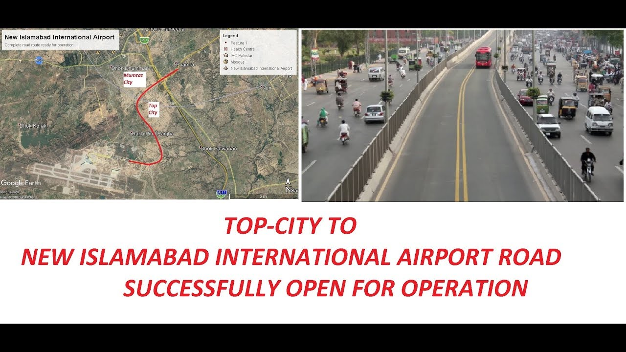 How to reach new Islamabad Airport from Rwp -IBD , Gujrat, Wah and Fateh  Jang-Map