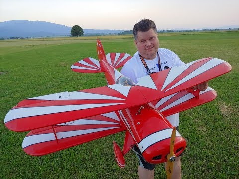 Black Horse Pitts Special 1.5m Biplane with RCGF 26cc gas engine Maiden flight