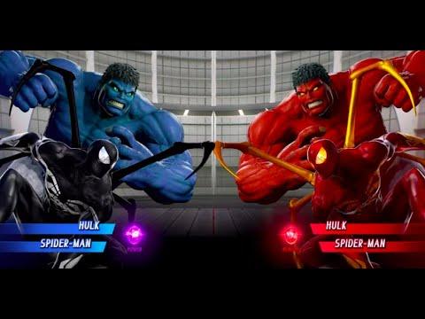 Spider-man (Black Iron Spider) And Blue Hulk Vs Spider-man (Iron Spider) And Red Hulk
