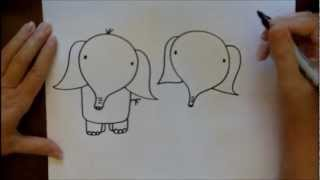 How To Draw An Elephant Step By Step Easy Beginner CartoonTutorial