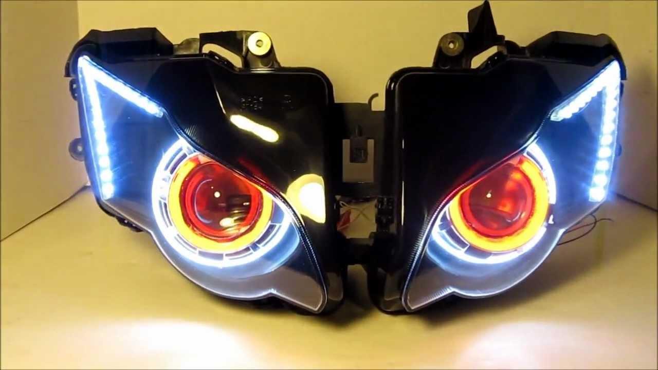 Honda Cbr1000rr 2008 >> 2008 - 2011 Honda CBR 1000RR Projector Headlights BiXenon hid Dual Angel Eyes Halo By BKmoto ...