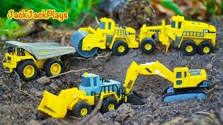 Tonka Trucks and Diggers Toy Unboxing - Jack Jack Playing with Toys in the Dirt