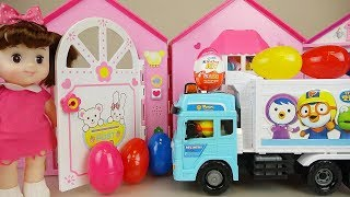 vuclip Delivery car Baby doll house and surprise eggs toys play
