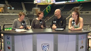 Oregon\'s Kelly Graves, Sabrina Ionescu join Pac-12 Networks\' set in Eugene after defeating UW