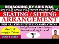 seating/sitting arrangement in telugu for banking, si of police , ssc cgl and for all exams