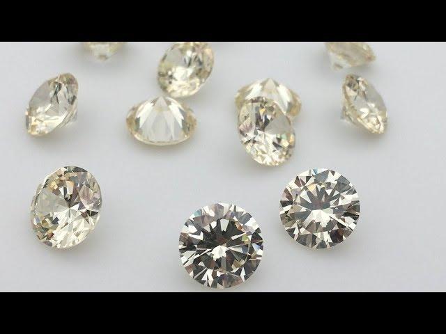 Canary Yellow Cubic Zirconia Round Diamond Cut gemstones