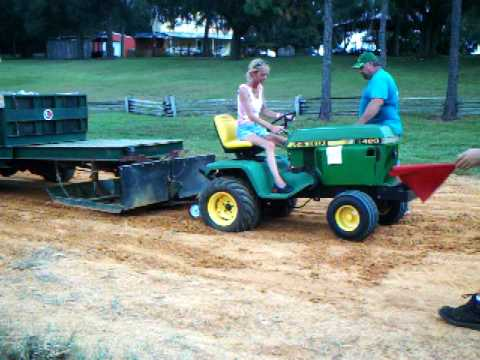 Garden Tractor Pulling The Wife 39 S Second Pull With The John Deere 420 186 Feet Youtube