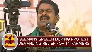 Seeman's speech during protest demanding relief for TN Farmers   Thanthi TV