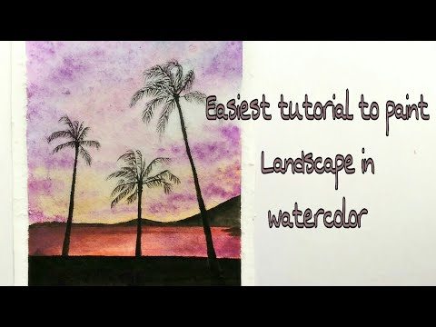 Easiest tutorial to paint landscape in watercolour || Sea Sunset in watercolor