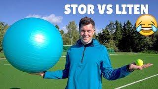 TESTER STOR VS LITEN BALL! 😂