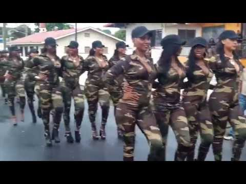 Beautiful latin female military parade in South America!