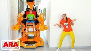 يلعب فلاد ونيكي مع لعبة سيارة روبوت