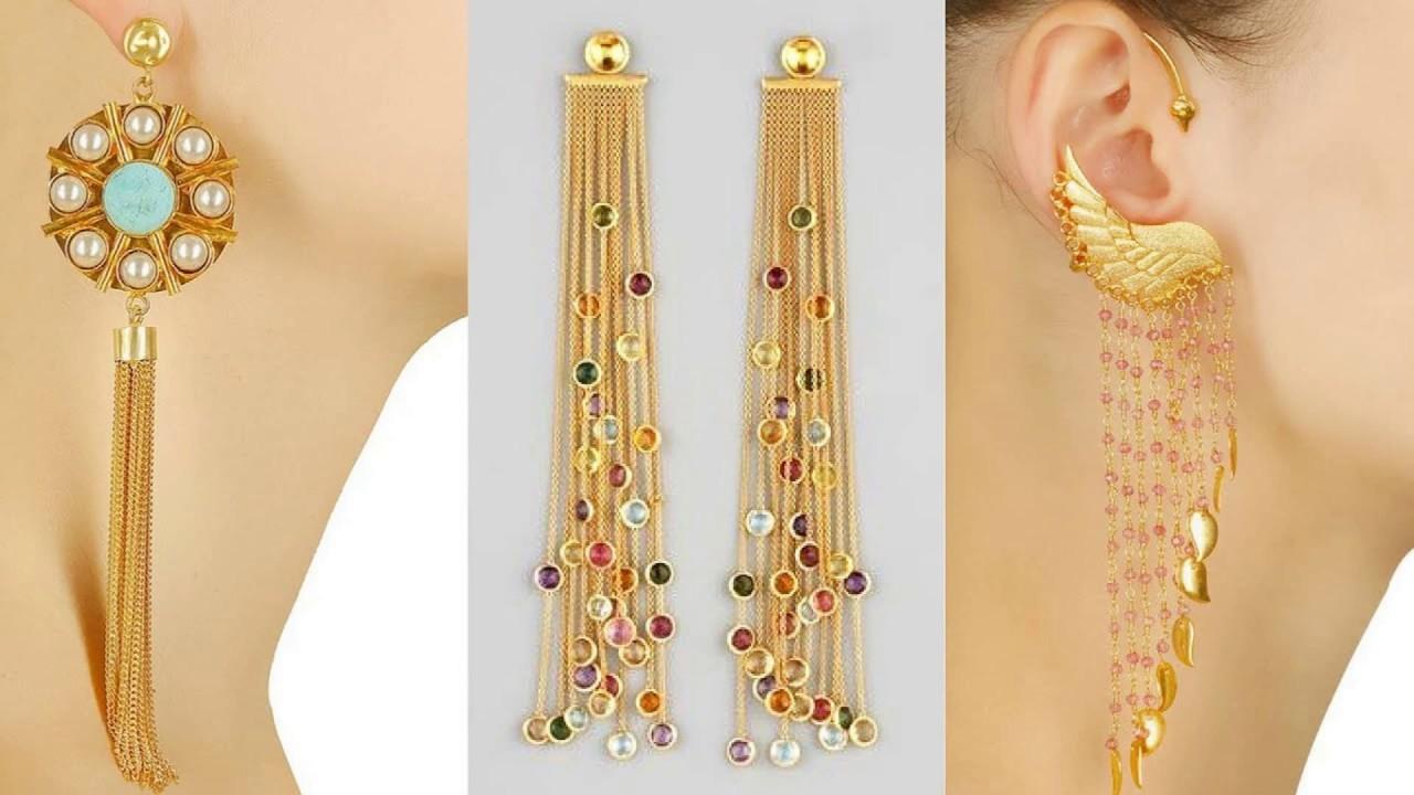 Latest Long Drop Chain Earring Designs