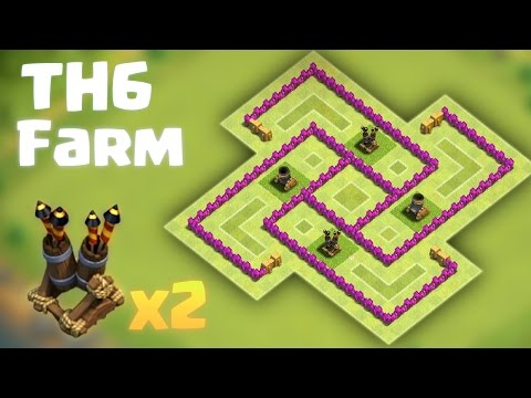 Best TH6 Farming Base - 2 Air Defenses - Anti Everything - 2016 update - Clash of Clans