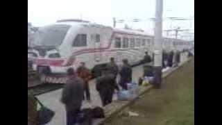 Ukrainian railways. New regional diesel train DEL-02-004 arriving at Vinnytsya station