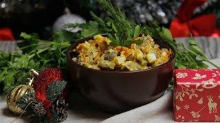 Простой и быстрый в приготовлении рецепт салата с печенью и грибами на праздничный стол.