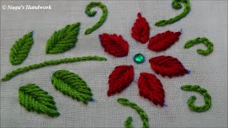 Fish Bone Stitch-Hand Embroidery Tutorials By Naguu0026#39;s Handwork