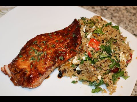 COOK WITH ME!! HOW TO MAKE ROASTED VEGGIE QUINOA SALAD AND TERIYAKI SALMON(HEALTHY)