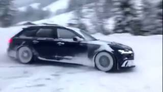 Audi RS6 REVS sound menacing drifting on the snow!