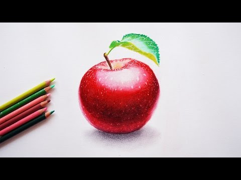How to draw an apple - Step by step tutorial - Prismacolor pencils.
