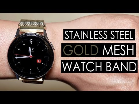 Samsung Galaxy Watch Active 2 Gold Stainless Steel Mesh Watch Band [4K]
