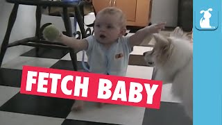 OMG: Baby and Dog Play Fetch