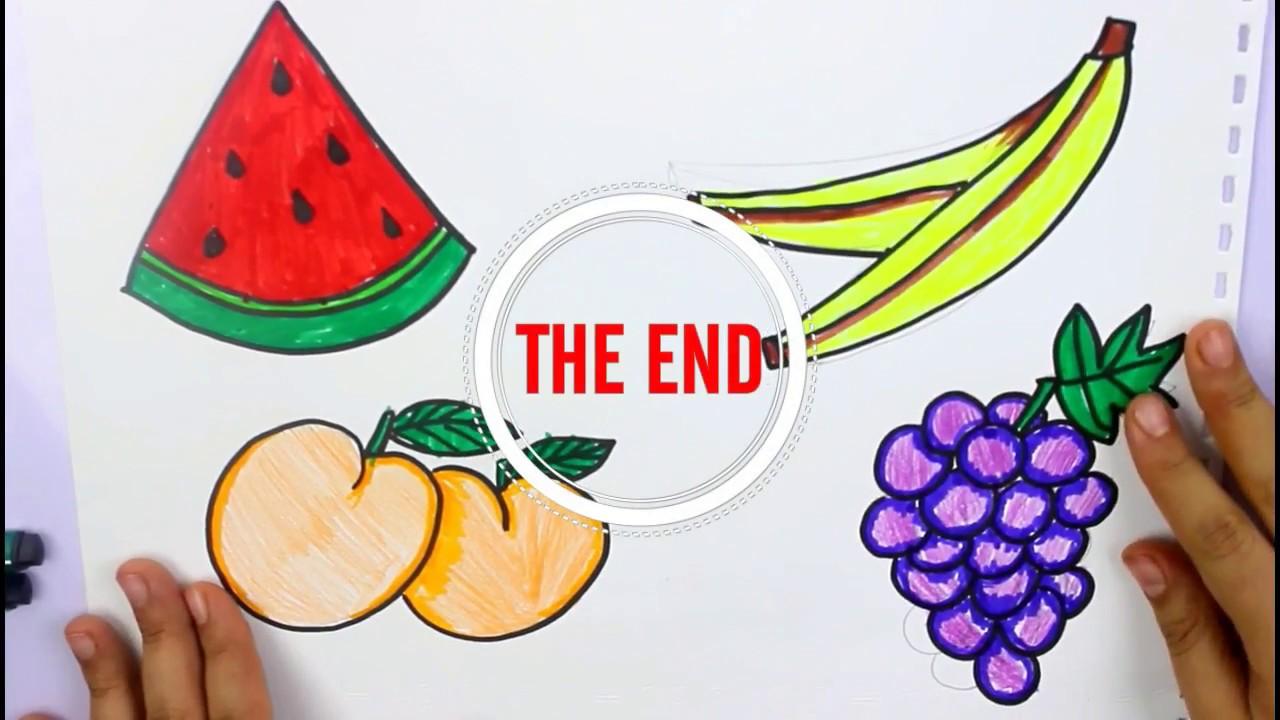 رسم فواكه رسم فاكهه رسم سهل للاطفال بالخطوات رسم موز مشمش عنب بطيخ
