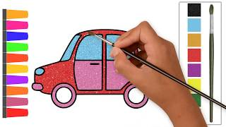 How to Draw a Car / Easy Funny Drawing and Coloring With Glitter Colors for kids with Songs