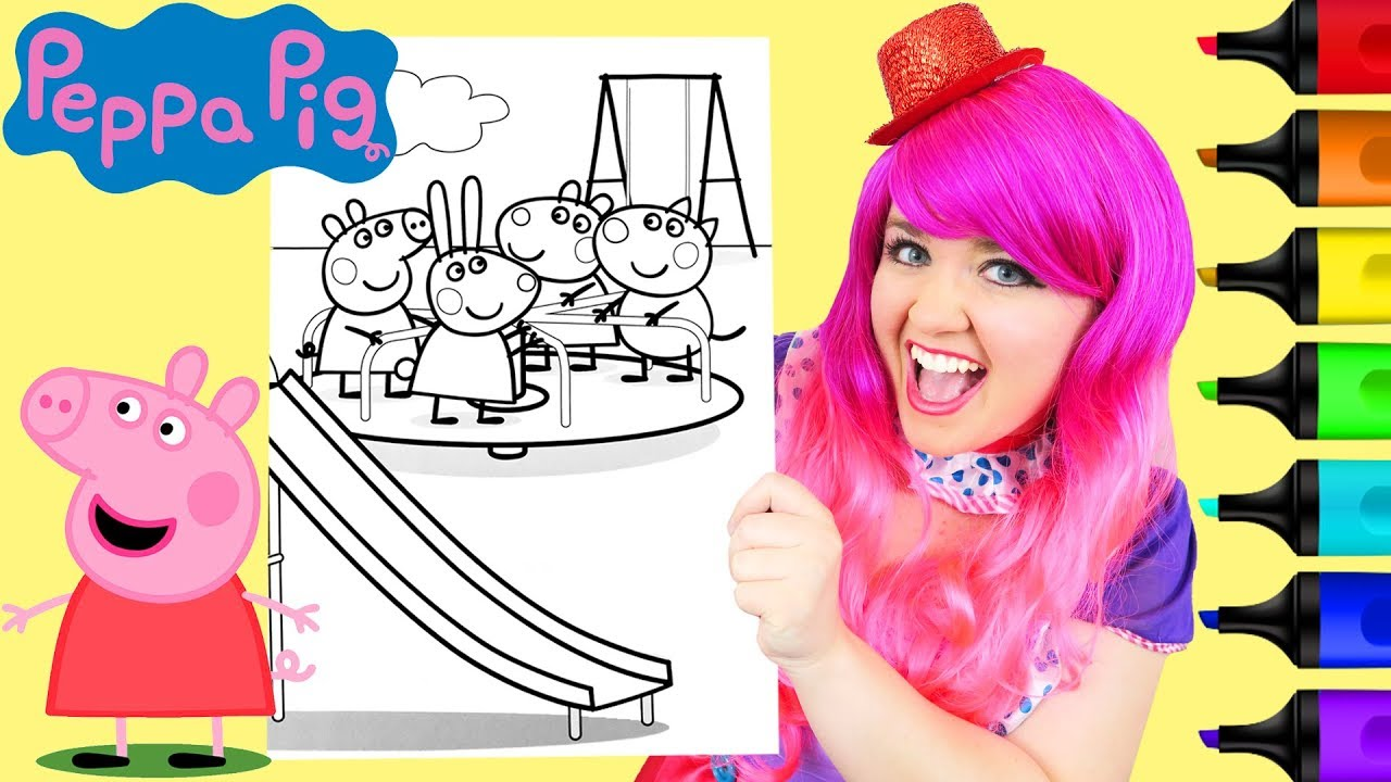Coloring Peppa Pig & Friends Merry Go Round Coloring Page ...
