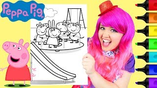Coloring Peppa Pig & Friends Merry Go Round Coloring Page Prismacolor Markers   KiMMi THE CLOWN