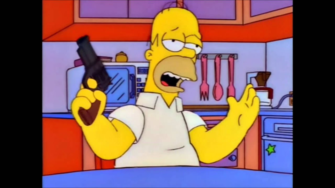 The Simpsons Homer And His Gun Youtube