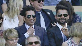 Sachin Tendulkar, Virat Kohli & Anushka Sharma At Wimbledon 2015 Semi Finals