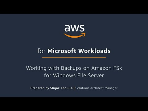 Working with Backups on Amazon FSx for Windows File Server