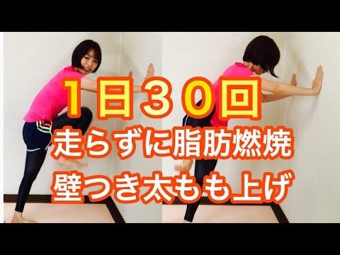 【脂肪燃焼】1日30回 走らずに脂肪燃焼!!壁つき腿上げ