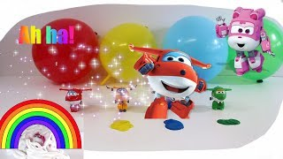 Super Wings Episode balloons shaving cream  and painting.Learn colors.
