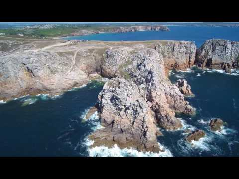 Camaret-sur-Mer (Bretagne, France) from the air by drone. View ON THE ROCKS