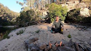 Solo bushcraft camp in the Australian wilderness