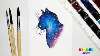 Космический кот - Рисунок акварелью