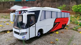How to make DIY Cardboard Scania bus | handmade | easy | with rubber tyres | Cardboard miniatures