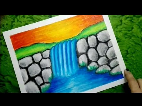 How to draw waterfall scenery for kids , Waterfall drawing using oil pastels