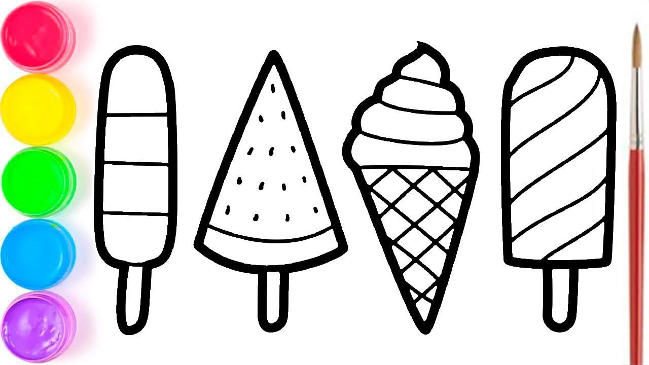 gambar mewarnai es krim pelajari menggambar dan mewarnai