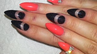 Hot Neon Orange And Black Negative Space Acrylic Nails