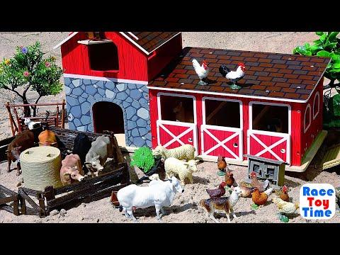 Playing with Fun Farm Animal Toys in the Sandbox