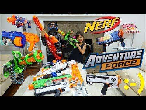 Children's TOY GUNS: NERF WAR! Nerf Guns and Adventure Force Guns. Mom Versus Kids Toy Gun Playtime