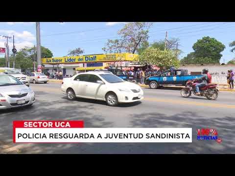 Así resguarda Policía Nacional a Juventud Sandinista