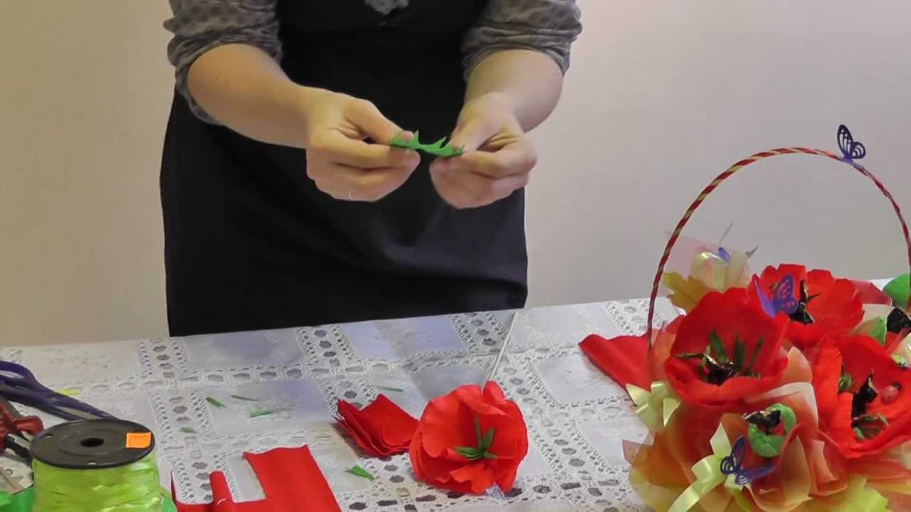 Букеты из конфет своими руками маки мастер класс