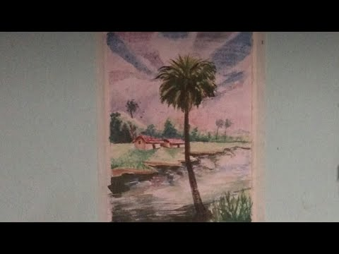 Water colour landscape painting. Sky painting Technique.Easy water colour painting for beginners