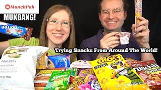TRYING SNACKS FROM AROUND THE WORLD MUKBANG (MunchPak)! 먹방 | SongByrd's Eating Show