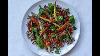 VEGAN Ginger Roasted Cherry Tomatoes with Cumin Roasted Carrots, Quinoa & a Nectarine Dressing